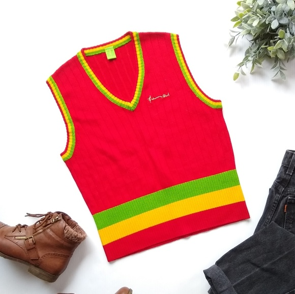 Vintage Sweaters - Johnny Girl• vintage retro red ribbed sweater vest